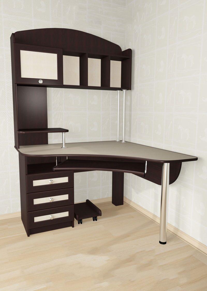Письменный угловой стол для школьника с надстройками и други.