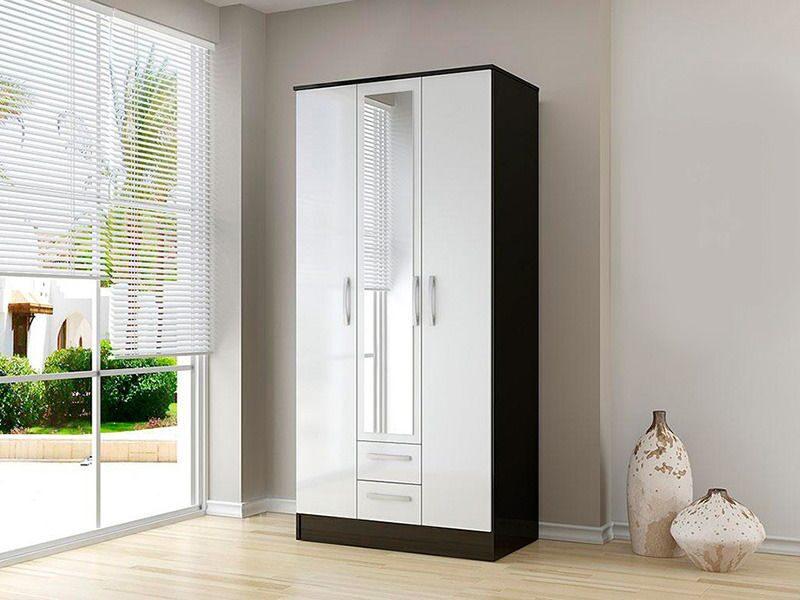 Распашной глянцевый шкаф гламур 2 с зеркалом - купить здесь!.