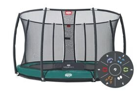 Батут Berg Elite+ InGround Green 430 Tattoo + защитная сетка Safety Net T-series 430